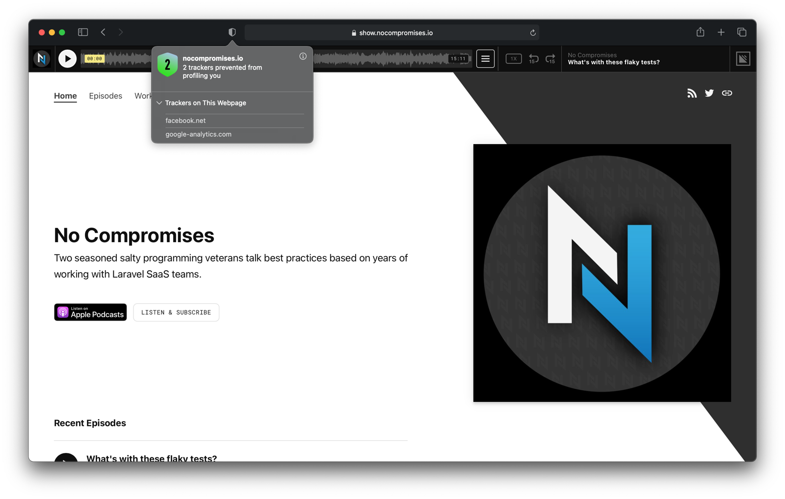 Privacy blocker in macOS with blocked trackers