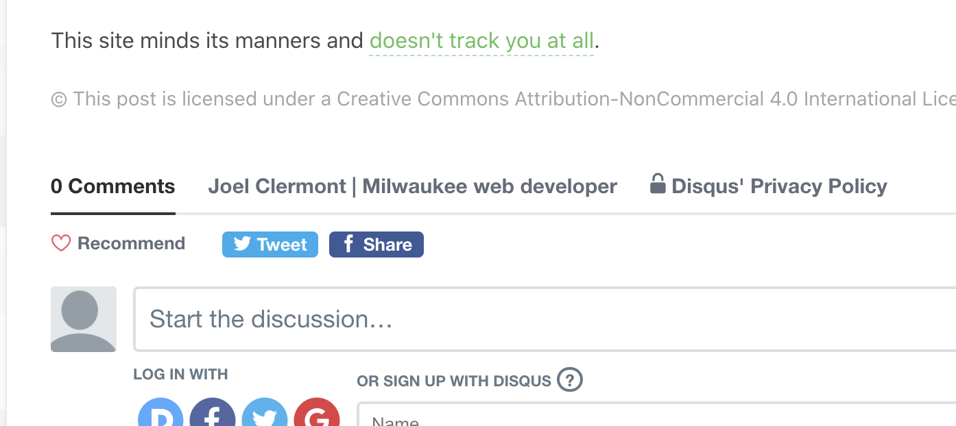 A screenshot of my site's Disqus integration